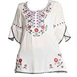 Ashir Aley Bell Sleeve Womens Girls Embroidered Cotton Peasant Tops Mexican Bohemian Shirts Blouses (S,White)