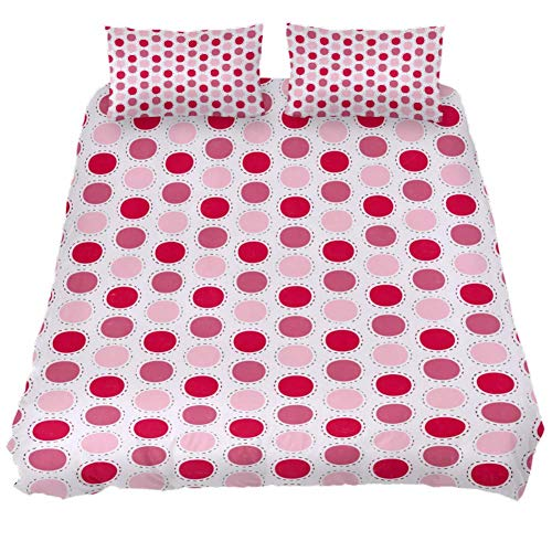Dragon Sword Red Pink Polka Dots Bed Sheet Set - 3 Piece Microfiber Comforter Set Quilt Cover and 2 Pillow Shams for Men Women Dragon Red Bed Sheet