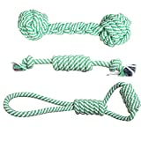Loria Pet Dog Cotton Rope Chew Toy Pet Dog Molar Clean Teeth Toy Braided Bone Rope Chew Knot Toys