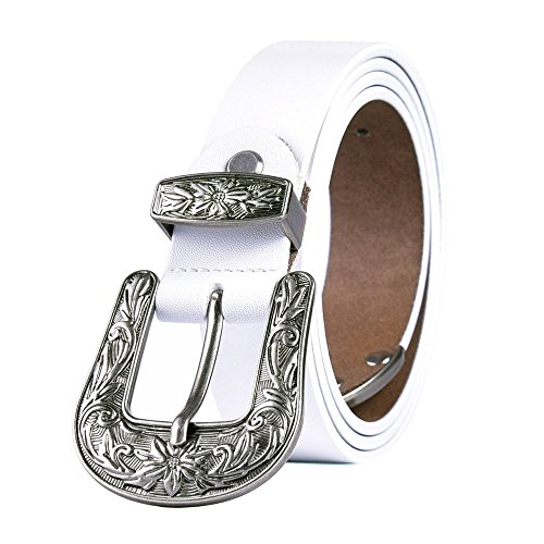- TALLEFFORT Ladies Vintage Western Leather Belts for Women Genuine Leather Belt White-L