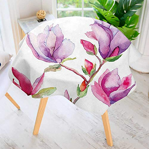 UHOO2018 Round Tablecloth-and Purple Fresh Magnolia Buds in Watercolors Drawing Bouquet Bridal Design Purple Pink Round Circular Solid Polyester Tablecloth 63