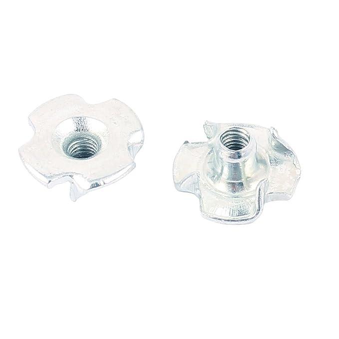 eDealMax 10 piezas de tono de plata 4-Claw Insertar Nuts 3 mm Diámetro del orificio de 12 x 6 x 3 mm - - Amazon.com