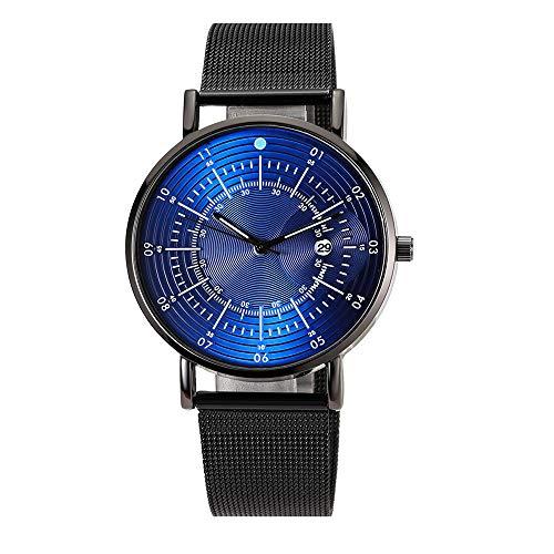 Pengy Unisex Business Watch Multi Scale Dial Calendar Net Watch Black Quartz Wrist Watch Mature Watch