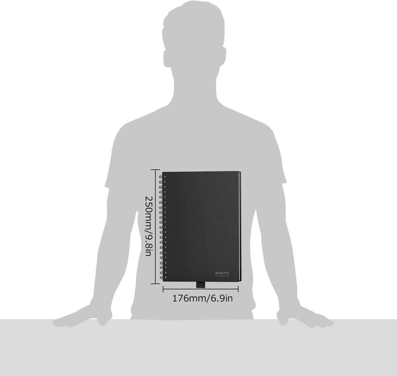 HOMESTEC Cuaderno Inteligente Reutilizable | Tamaño B5 (176x250) | Hojas borrables y adaptadas para escaneo a PDF mediante APP | Incluye Boli y Marcadores Adhesivos (Negro): Amazon.es: Oficina y papelería