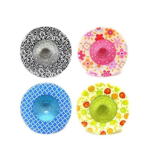 2 Pack- Decorative Design Sink Strainers- Random Colors Shipped- Durable Plastic Prevents Clogged Drains Will Never Rust Fits Most Kitchen Sinks