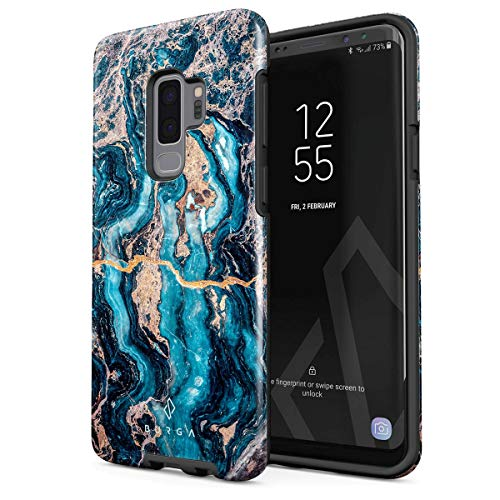 Blue Granite Shell - BURGA Phone Case Compatible with Samsung Galaxy S9 Plus Crystal Blue Teal Turqoise Marble Heavy Duty Shockproof Dual Layer Hard Shell + Silicone Protective Cover