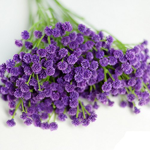 Conjugal Bliss 3PCS Bouquet Silica Gel Artificial Flowers 3 Color Gypsophila Baby Breath Bouquets For Home Wedding DIY Decor Festival Party Gift Decors Flower (Purple) - Twinkle Toes Clothes