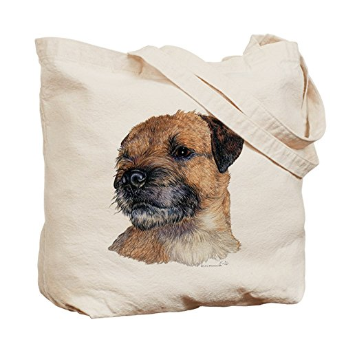 CafePress–Border Terrier perro retrato–Gamuza de bolsa de lona bolsa, bolsa de la compra Small caqui