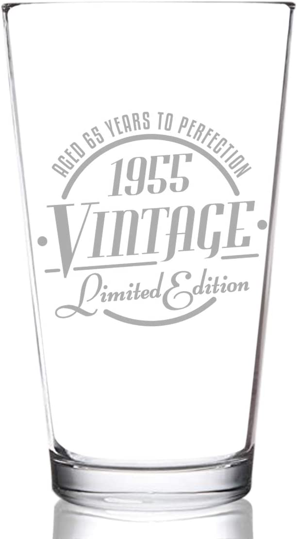 Reunion Gift for Him or Her Classic Birthday Gift 1955 Vintage Edition 65th Birthday Beer Glass for Men and Women 65th Anniversary 16 oz- Elegant Happy Birthday Pint Beer Glasses for Craft Beer