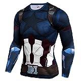 Men Dir-fit Superhero Captain America Compression Shirt Long Sleeve Running Tee