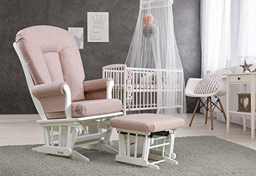 Dutailier Sleigh Glider and Nursing Ottoman Set, White/Pink Lemonade -  C06-61B-60-5279