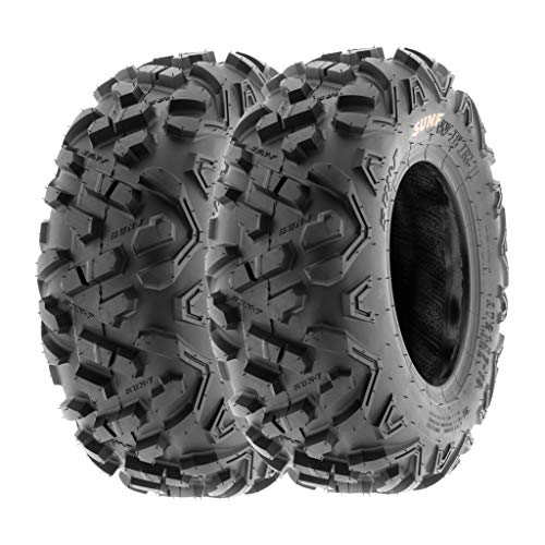 SunF 19x7-8 19x7x8 ATV UTV A/T Mud Replacement 6 PR Tubeless Tires A051 POWER II, [Set of 2]