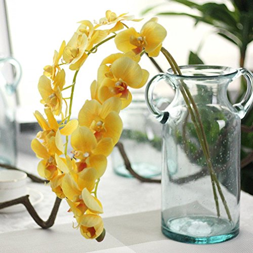 Besde Simulation Butterfly Orchid Phalaenopsis Branch Artificial Silk Flower Scented Garden Wedding Party Gift Home Decoration (yellow)