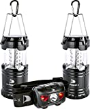 LED Camping Lantern - Insane Deal Flagship-X 2 Lanterns 1 Headlamp Camping Lights Brightest CREE LED Portable Electric Bonus Waterproof Head lamp Flashlight for Outdoors