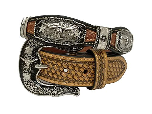 (West Star Silver Crocodile Stylish Genuine Leather Cowboy Pattern Emboss 1.5 Inches Width Belt)
