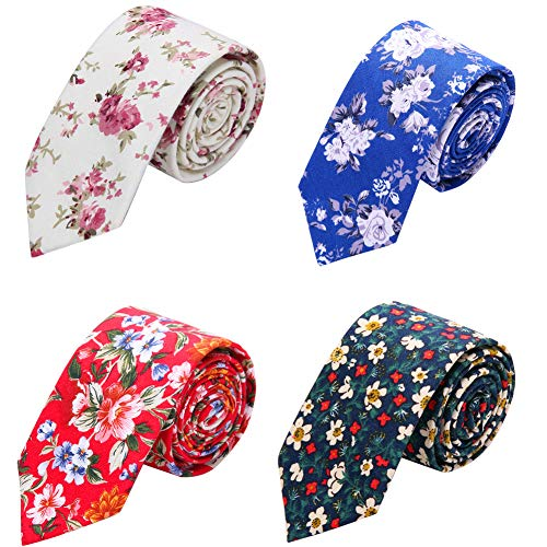 - AUSKY 4 Packs Fashion Cotton Floral Skinny Neckties for Men Boys 2.4'' Flower ties