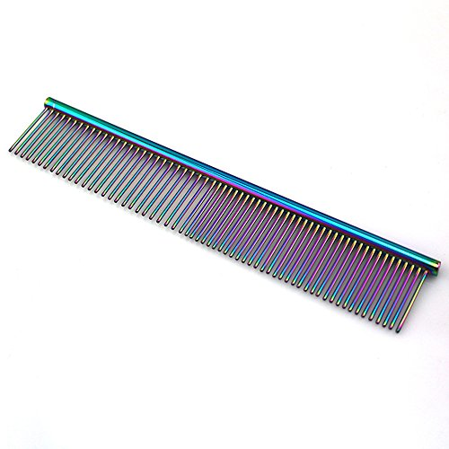 ZoCr Stainless Steel Pet Comb for Dogs Cats, Pet Grooming Comb with Different Spaced Rounded Teeth - Grey Combs