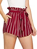 SweatyRocks Women's Casual Elastic Waist Striped Summer Beach Shorts with Pockets (X-Small, Red)