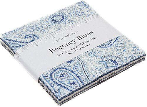 Regency Blues Charm Pack by Christopher Wilson Tate; 42-5 inch Precut Fabric Quilt Squares by MODA