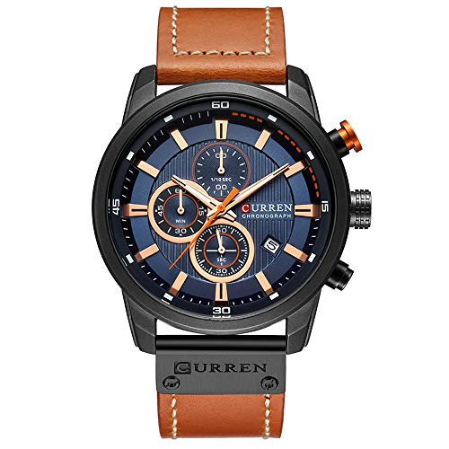 Casual Chronograph Sport Watches for Men Business Quartz Leather Wristwatch with Calendar (Brown Blue)