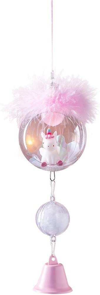 Unicorn Wind Chime with LED Pink Yard Garden Home Decor Cute Resin Hanging Unicorn Wind Bell