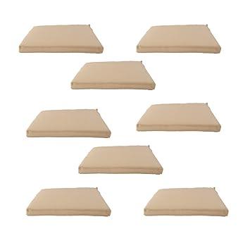 Edenjardi Pack 8 Cojines textilene para sillas de Exterior Color Arena | Tamaño 44x44x5 cm | Tela Antimanchas | Desenfundable | Portes Gratis