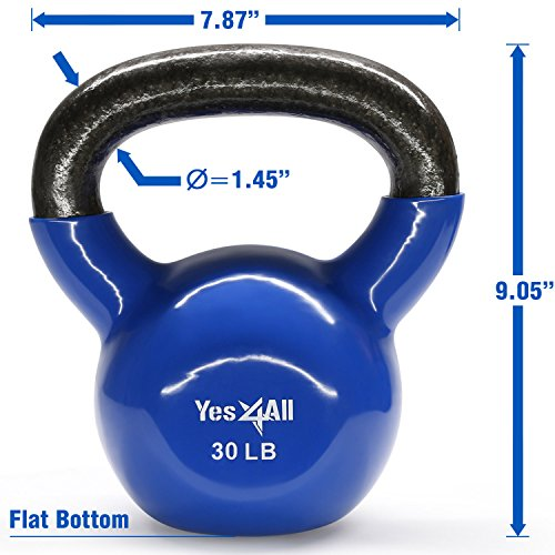 Yes4All Vinyl Coated Kettlebell Weights Set – Great for Full Body Workout and Strength Training – Vinyl Kettlebell 30 lbs by Yes4All (Image #1)