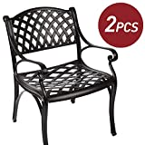 Cast Aluminum Outdoor Bistro Dining Chairs Patio Furniture Set of 2