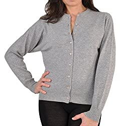 Women S Scottish Cashmere Cardigan Sweater Silver X Large