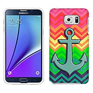 Samsung Galaxy Note 5 Case, Snap On Cover by Trek Anchor on Neon Chevron Rainbow Case