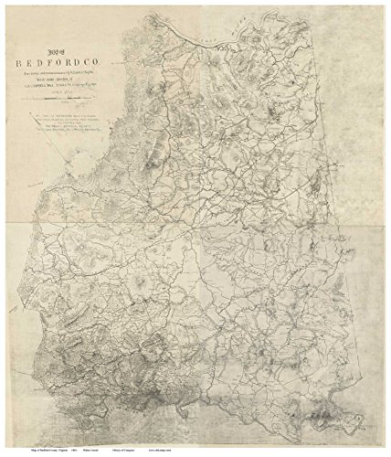 Bedford County Virginia 1864 - Wall Map With Homeowners names Old Map Reprint
