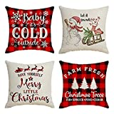 Jieyui Set of 4 Christmas Decorations Christmas Red and Black Buffalo Plaid Graffi Style Pillow Covers 18 x 18 with Christmas Truck Deer Tree Pattern Xmas Gifts (B)