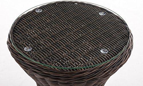 Tavolino DAppoggio Esterno in Polirattan Sandino Tavolo Tondo /Ø 50CM H60CM Tavolino caff/è Giardino Piano in Vetro di Sicurezza Colore:Antico//Marrone