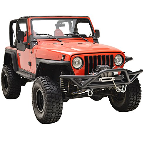E-Autogrilles Jeep YJ TJ Wrangler Tubular Off Road Front Bumper with Winch Plate