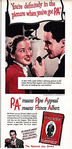 Mild Pipe Tobacco - 1948 Prince Albert Tobacco Can-Original 13.5 * 5.5 Magazine Ad-Pipe Appeal ?Mild