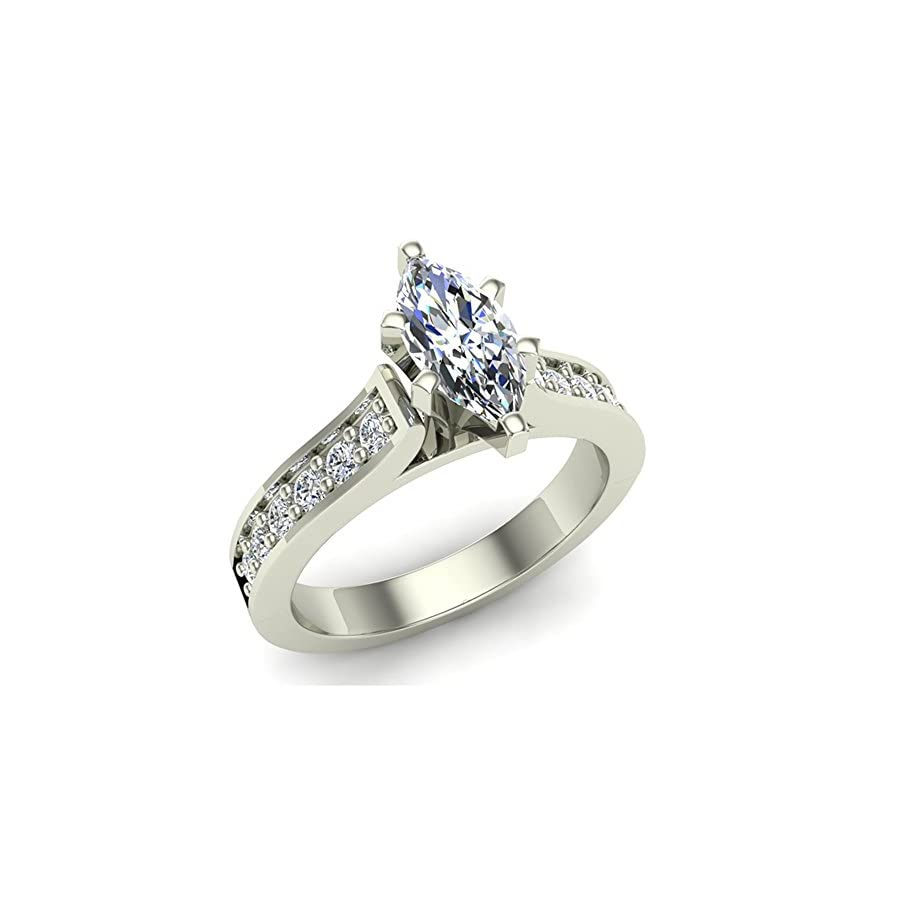 Marquise Brilliant Cut Accented Diamond Engagement Ring 1.10 Carat Total Weight 0.75 ct Center 14K Gold (J,I1)