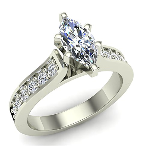 Marquise Brilliant Cut Accented Diamond Engagement Ring 1.10 Carat Total Weight 0.75 ct Center (J,I1)