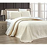 "3-Piece WHITE / IVORY Oversize ""ORNATO"" Reversible Bedspread QUEEN  Embossed Coverlet set 106 by 100-Inch"