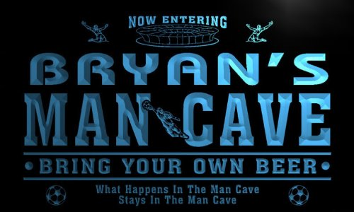 qd1487-b BRYAN's Man Cave Soccer Football Bar Neon Beer Sign by AdvPro Name