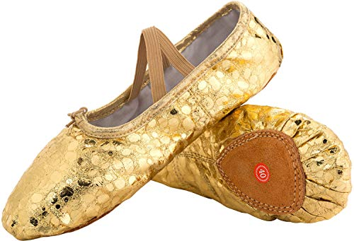 JOINFREE Girl's Women's Classic Leather Ballet Dancing Yoga Shoes Slippers Practise Gold Dot 13 B(M) US Women