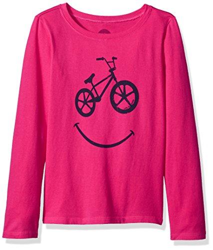 Bmx Kids T-shirt - Life is good Long Sleeve Girls Tee Bmx Smile, Pop Pink, Medium