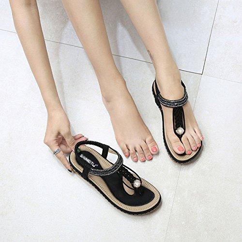 Aqua Summer Bohemia Woven Flat Bottom Casual Fashion Sandals Black 0JMtXG