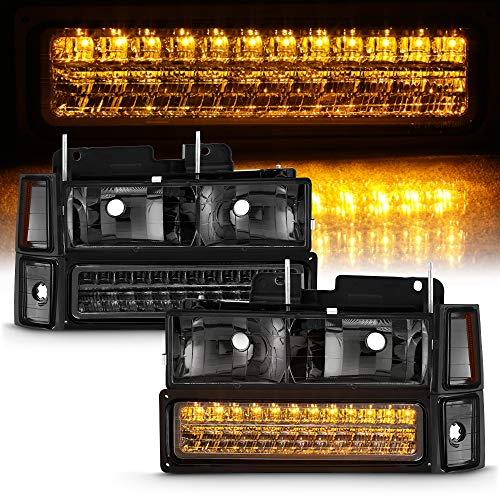 ACANII - For Smoked 1994-1998 Chevy Silverado C/K Tahoe Suburban Headlights+LED Bumper Lights+Corner Lamps Left & Right