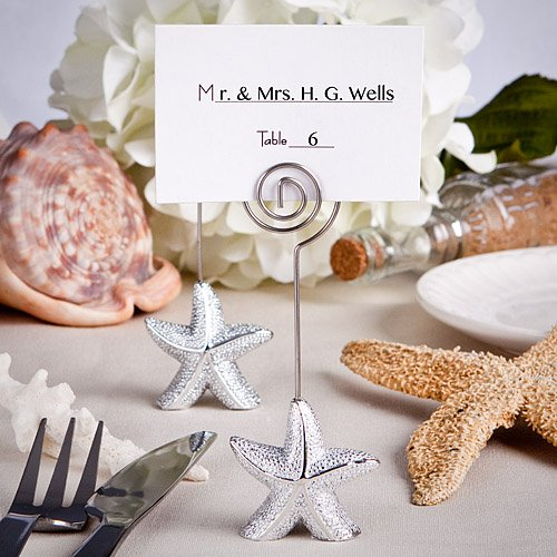 Shimmering Starfish Design Place Card Holder Favors, 30