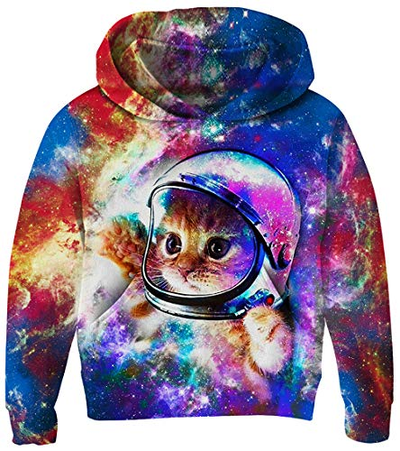 UNICOMIDEA Boys Pullover Long Sleeves Sweatshirt Cool Hoodies Wear Drawstring Pullover Cute Cat 3D Printing Nebula with Fleece 11-14 Years -