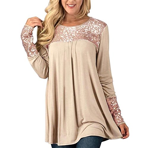 Womens Long Sleeve Tops,YKA Sequins O-Neck Pullover Shirt Blouse For Ladies,Girl Spring Summer Fashion Casual Elegant Loose Slim Newly Outwear Dress Vest Jumper Skirt Solid Sexy T-Shirt (Beige, - Hours Stores Springs Disney