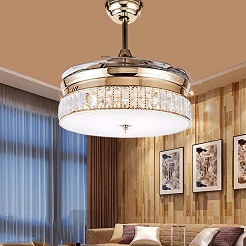 Sweety House36 K9 Crystal Ceiling Fan Chandelier,Decorative Lamp With Remote Control Adjustable Wind Speed Invisible Retractable Blade Ceiling Fan Rose Gold
