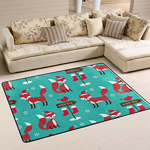 FANTAZIO Area Rugs Christmas Foxes Straight Carpet Gripper for Corners and Edge Ideal Rug Stopper for Kitchen/Bathroom