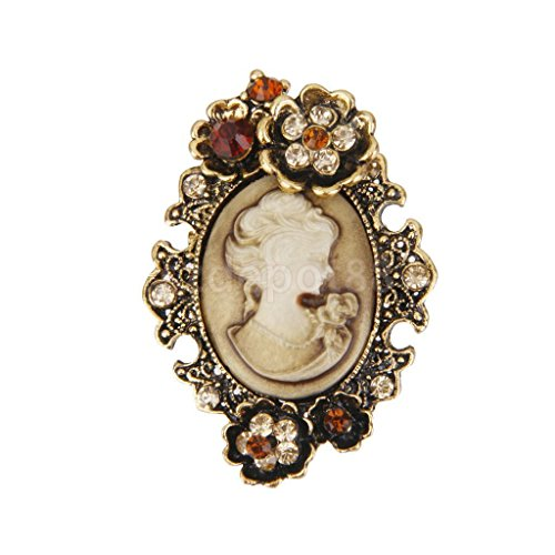 (Antique Cameo Victorian Style crystal Wedding Party Women Pendant Brooch Pin #8)