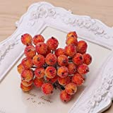 BushYou 40 Pcs Decorative Mini Christmas Frosted Fruit Berry Holly Artificial Flower Decorations (Orange)